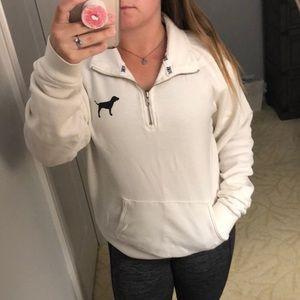 PINK oversized comfy quarter-zip pullover